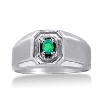 1/4ct Oval Created Emerald Men's Ring Crafted In Solid 14K White Gold