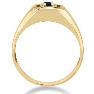 1/4ct Oval Created Sapphire Men's Ring Crafted In Solid 14K Yellow Gold