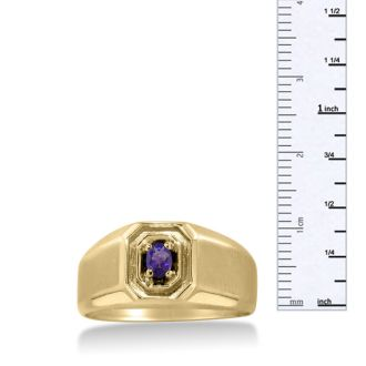 1/4ct Oval Amethyst Men's Ring Crafted In Solid Yellow Gold