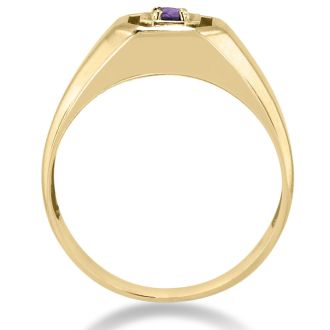 1/4ct Oval Amethyst Men's Ring Crafted In Solid 14K Yellow Gold