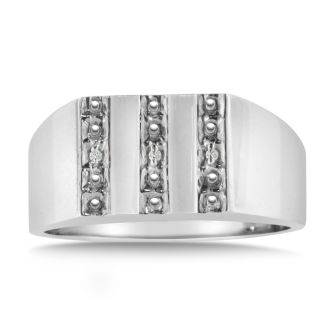 Men's Diamond Ring Crafted In Solid 14K White Gold