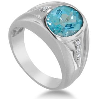 4 1/2ct Oval Blue Topaz and Diamond Men's Ring Crafted In Solid White Gold