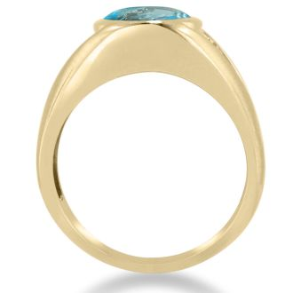 4 1/2ct Oval Blue Topaz and Diamond Men's Ring Crafted In Solid 14K Yellow Gold