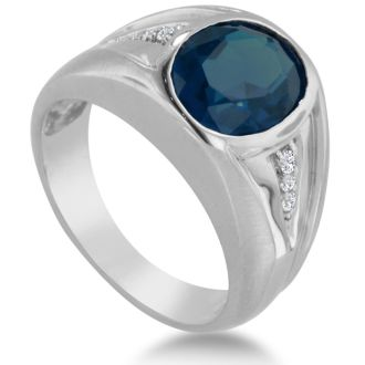4 1/2ct Oval Created Sapphire and Diamond Men's Ring Crafted In Solid 14K White Gold