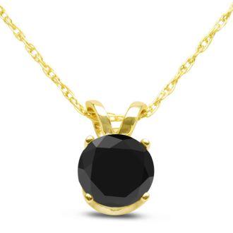 1/2ct Black Diamond Solitaire Pendant in 14k Yellow Gold