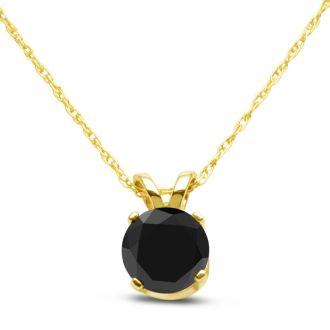 3/4ct Black Diamond Solitaire Pendant in 14k Yellow Gold