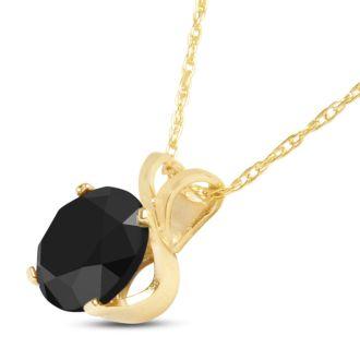 1ct Black Diamond Solitaire Pendant in 14k Yellow Gold