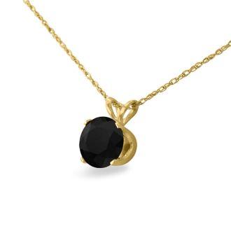 1 1/2ct Black Diamond Solitaire Pendant in 14k Yellow Gold