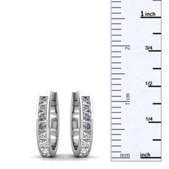 Huggy Style 1 1/4ct Diamond Hoop Earrings Crafted In Solid 14 Karat White Gold