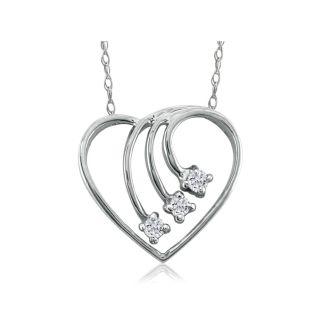 Fine Diamond Spray Heart Pendant, 14k White Gold