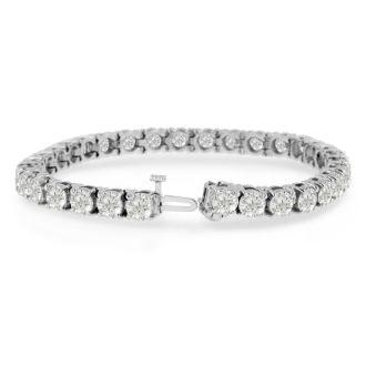 15 Carat Diamond Tennis Bracelet In 14 Karat White Gold