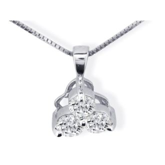 1/8ct Three Diamond Triangle Style Diamond Pendant In 14k White Gold