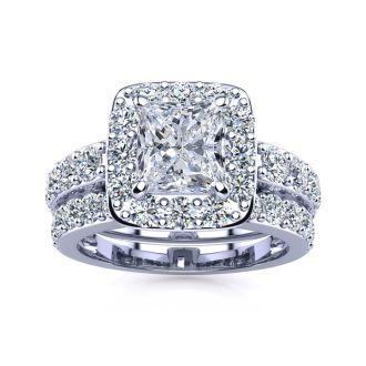2 1/4 Carat Princess Halo Diamond Bridal Set in 14k White Gold