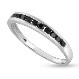 1/4ct Channel Set Black Diamond Anniversary Band in Sterling Silver