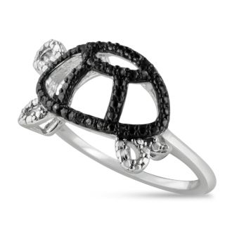 Black Diamond Turtle Ring Crafted In Solid Sterling Silver