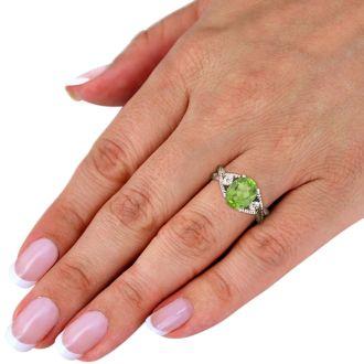 3ct Peridot and Diamond Ring