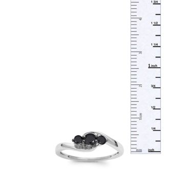3/8ct Triple Black Diamond Ring Crafted In Solid Sterling Silver