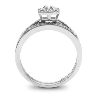 1/4 Carat Pave Halo Diamond Bridal Set in Sterling Silver. Incredibly Popular And Fantastic At A Low Price