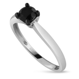 1/2ct Black Diamond Solitaire Ring Crafted In Solid Sterling Silver