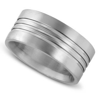 9 MM Grooved Men's Titanium Ring Wedding Band