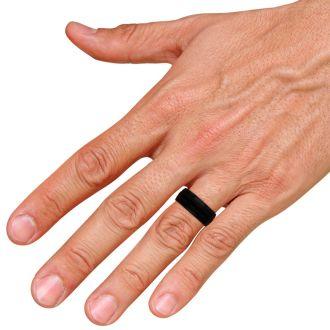 8 MM Black High Polish Men's Titanium Ring Wedding Band