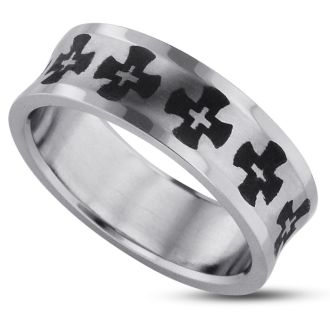 8 MM Men's Cross Titanium Ring Wedding Band