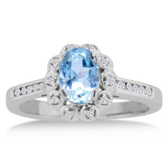 1 1/4ct Oval Aquamarine and Diamond Ring Crafted In Solid 14K White Gold