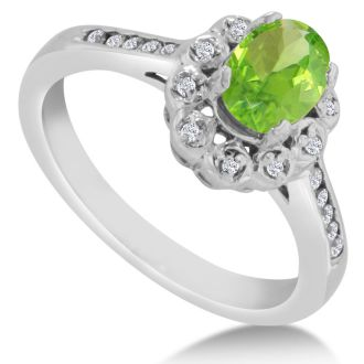 1 1/4ct Oval Peridot and Diamond Ring Crafted In Solid 14K White Gold