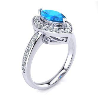 1 Carat Marquise Blue Topaz and Diamond Ring In 14 Karat White Gold