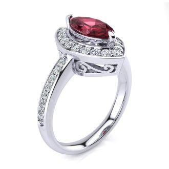 1 Carat Marquise Garnet and Diamond Ring In 14 Karat White Gold