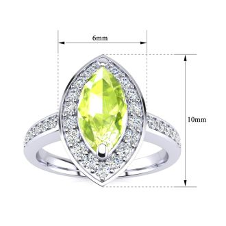 1 Carat Marquise Peridot and Diamond Ring In 14 Karat White Gold
