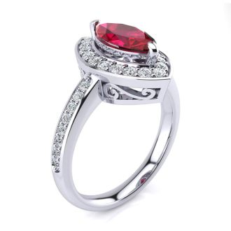 1 Carat Marquise Ruby and Diamond Ring In 14 Karat White Gold
