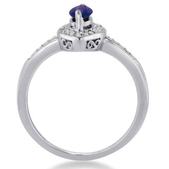 3/4ct Marquise Amethyst and Diamond Ring Crafted In Solid 14K White Gold