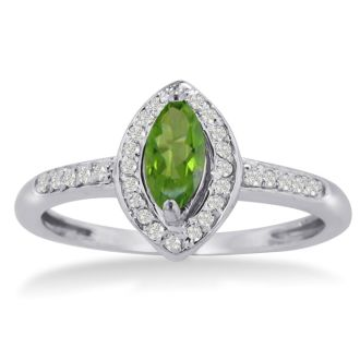 3/4ct Marquise Peridot and Diamond Ring Crafted In Solid 14K White Gold
