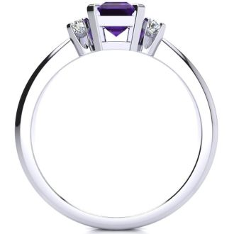 1ct Amethyst and Diamond Ring Crafted In Solid 14K White Gold
