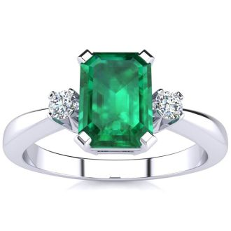 1ct Emerald and Diamond Ring Crafted In Solid 14K White Gold