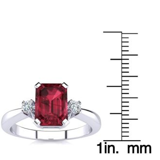 1ct Garnet and Diamond Ring Crafted In Solid 14K White Gold