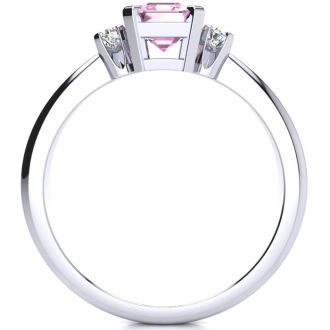 1 Carat Pink Topaz and Diamond In 14K White Gold