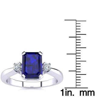 1ct Sapphire and Diamond Ring Crafted In Solid 14K White Gold