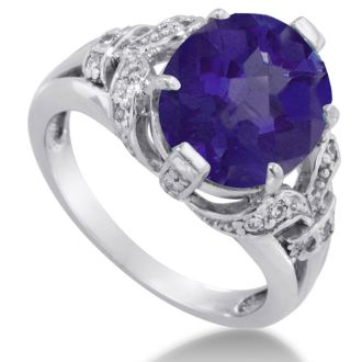 6ct Oval Amethyst and Diamond Ring Crafted In Solid 14K White Gold