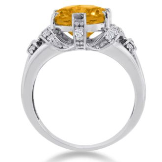 6ct Oval Citrine and Diamond Ring Crafted In Solid 14K White Gold