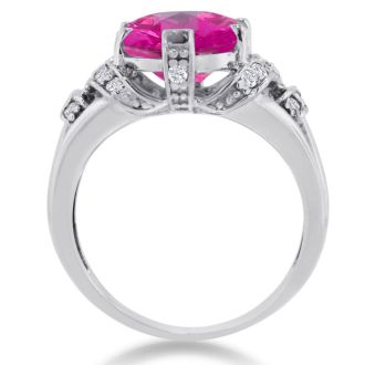 6 Carat Oval Shape Pink Sapphire and Diamond Ring In 14K White Gold