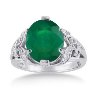 6ct Oval Emerald and Diamond Ring Crafted In Solid 14K White Gold