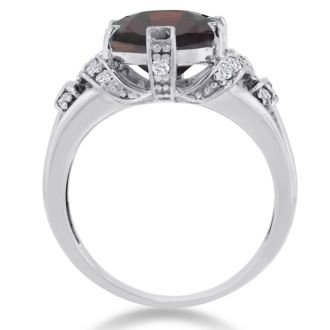 6ct Oval Garnet and Diamond Ring Crafted In Solid 14K White Gold