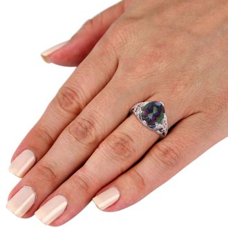6ct Oval Mystic Topaz and Diamond Ring Crafted In Solid 14K White Gold