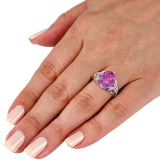 6 Carat Oval Shape Pink Toppaz and Diamond Ring In 14K White Gold