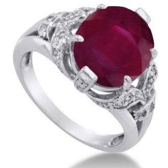 6ct Oval Ruby and Diamond Ring Crafted In Solid 14K White Gold