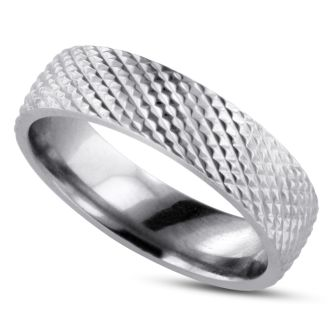 6 MM Brushed Finish Saw-Tooth Men's Titanium Ring Wedding Band