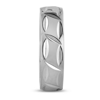 7 MM Polished Textured Men's Titanium Ring Wedding Band
