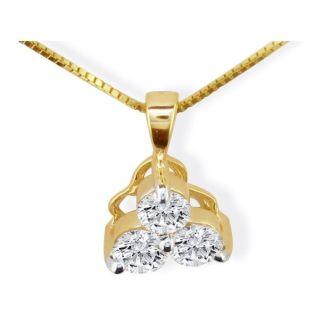 1/4ct Three Diamond Triangle Style Diamond Pendant In 14k Yellow Gold